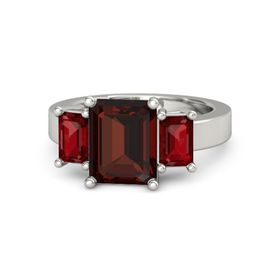 Emerald-Cut Red Garnet 14K White Gold Ring with Ruby