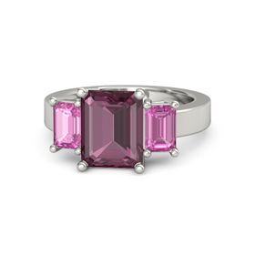 Emerald-Cut Rhodolite Garnet 14K White Gold Ring with Pink Sapphire