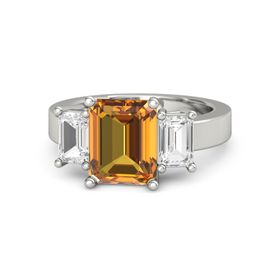 Emerald Citrine 14K White Gold Ring with White Sapphire