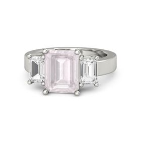Emerald-Cut Rose Quartz 14K White Gold Ring with White Sapphire
