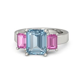 Emerald-Cut Aquamarine 14K White Gold Ring with Pink Sapphire