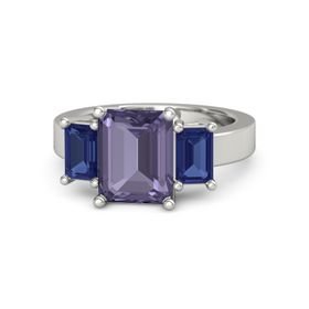 Emerald-Cut Iolite 14K White Gold Ring with Sapphire