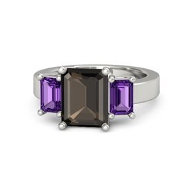 Emerald Smoky Quartz 14K White Gold Ring with Amethyst