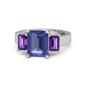 Emerald-Cut Tanzanite 14K White Gold Ring with Amethyst