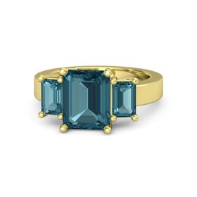 Emerald-Cut London Blue Topaz 14K Yellow Gold Ring with London Blue Topaz