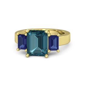 Emerald London Blue Topaz 14K Yellow Gold Ring with Blue Sapphire