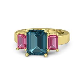 Emerald London Blue Topaz 14K Yellow Gold Ring with Pink Tourmaline