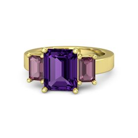 Emerald-Cut Amethyst 14K Yellow Gold Ring with Rhodolite Garnet