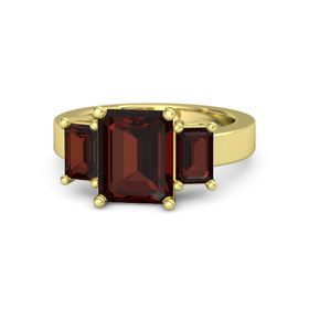 Emerald-Cut Red Garnet 14K Yellow Gold Ring with Red Garnet
