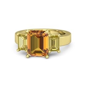 Emerald-Cut Citrine 14K Yellow Gold Ring with Yellow Sapphire