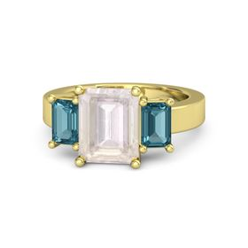 Emerald-Cut Rose Quartz 14K Yellow Gold Ring with London Blue Topaz