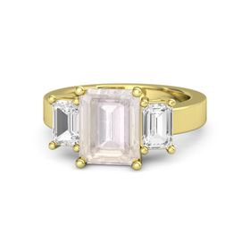 Emerald Rose Quartz 14K Yellow Gold Ring with White Sapphire