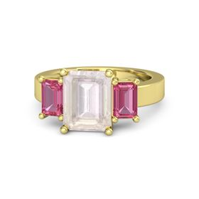 Emerald-Cut Rose Quartz 14K Yellow Gold Ring with Pink Tourmaline