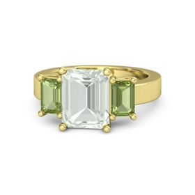 Emerald-Cut Green Amethyst 14K Yellow Gold Ring with Peridot