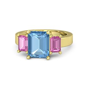 Emerald Blue Topaz 14K Yellow Gold Ring with Pink Sapphire