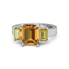Emerald-Cut Citrine 18K White Gold Ring with Yellow Sapphire