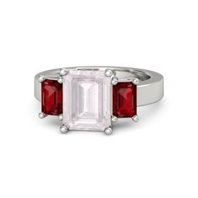 Emerald-Cut Rose Quartz 18K White Gold Ring with Ruby