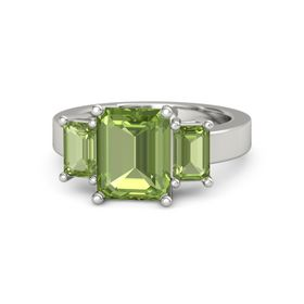 Emerald Peridot 18K White Gold Ring with Peridot