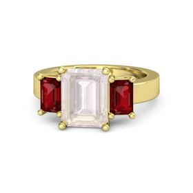 Emerald-Cut Rose Quartz 18K Yellow Gold Ring with Ruby