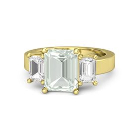 Emerald Green Amethyst 18K Yellow Gold Ring with White Sapphire
