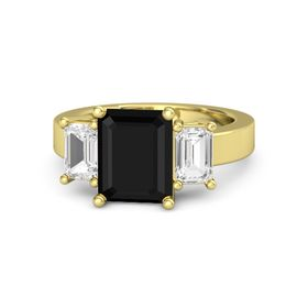 Emerald Black Onyx 18K Yellow Gold Ring with White Sapphire