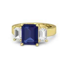 Emerald Blue Sapphire 18K Yellow Gold Ring with White Sapphire