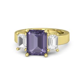Emerald-Cut Iolite 18K Yellow Gold Ring with White Sapphire