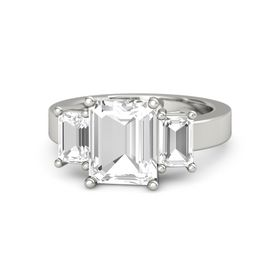 Emerald-Cut Rock Crystal Palladium Ring with Rock Crystal