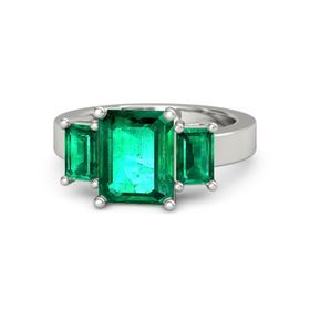 Emerald-Cut Emerald Palladium Ring with Emerald