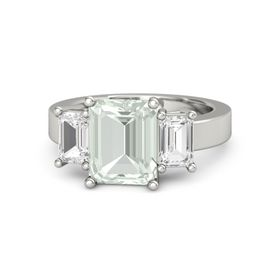 Emerald-Cut Green Amethyst Palladium Ring with White Sapphire