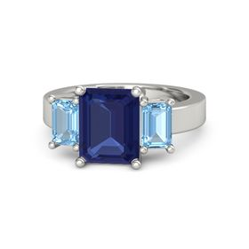 Emerald-Cut Sapphire Palladium Ring with Blue Topaz
