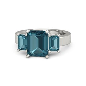 Emerald London Blue Topaz Platinum Ring with London Blue Topaz
