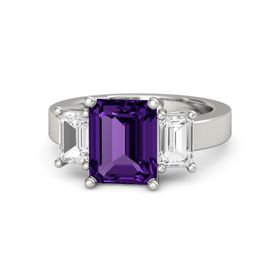 Emerald Amethyst Platinum Ring with White Sapphire