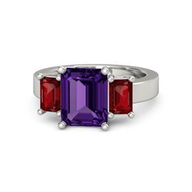 Emerald Amethyst Platinum Ring with Ruby