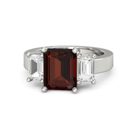 Emerald Red Garnet Platinum Ring with White Sapphire