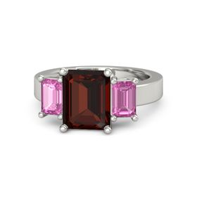 Emerald-Cut Red Garnet Platinum Ring with Pink Sapphire