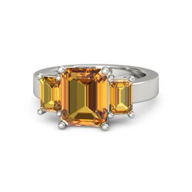 Emerald Citrine Platinum Ring with Citrine