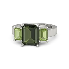 Emerald-Cut Green Tourmaline Platinum Ring with Peridot