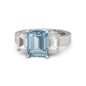 Emerald-Cut Aquamarine Platinum Ring with White Sapphire