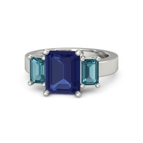 Emerald Blue Sapphire Platinum Ring with London Blue Topaz
