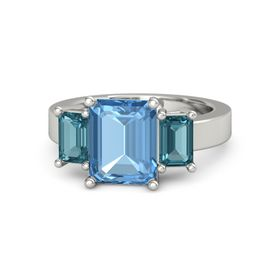 Emerald Blue Topaz Platinum Ring with London Blue Topaz