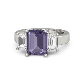 Emerald-Cut Iolite Platinum Ring with White Sapphire