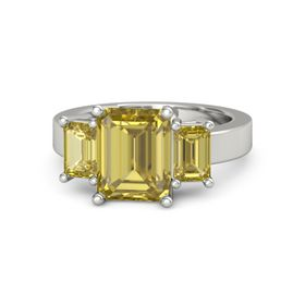 Emerald-Cut Yellow Sapphire Platinum Ring with Yellow Sapphire