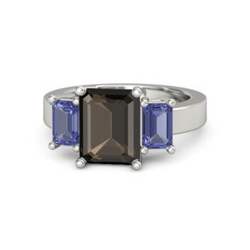 Emerald Smoky Quartz Platinum Ring with Tanzanite
