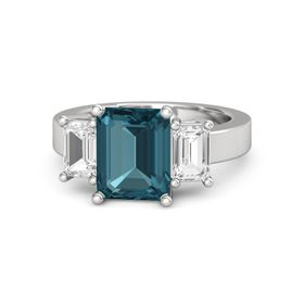 Emerald-Cut London Blue Topaz Sterling Silver Ring with White Sapphire