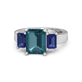 Emerald-Cut London Blue Topaz Sterling Silver Ring with Sapphire