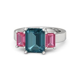 Emerald-Cut London Blue Topaz Sterling Silver Ring with Pink Tourmaline