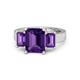 Emerald Amethyst Sterling Silver Ring with Amethyst