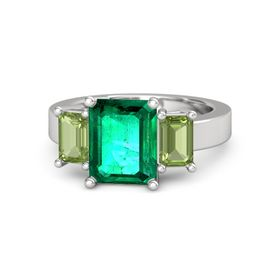 Emerald Emerald Sterling Silver Ring with Peridot