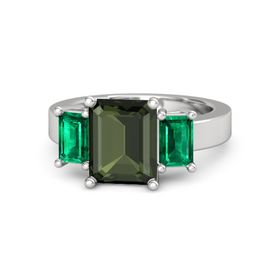 Emerald Green Tourmaline Sterling Silver Ring with Emerald